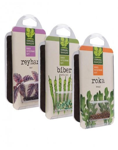 Osmanlı Bahçesi Tatlı Kıl Biber + Roka + Reyhan Tohumu + Organik Solucan Gübresi Paketi